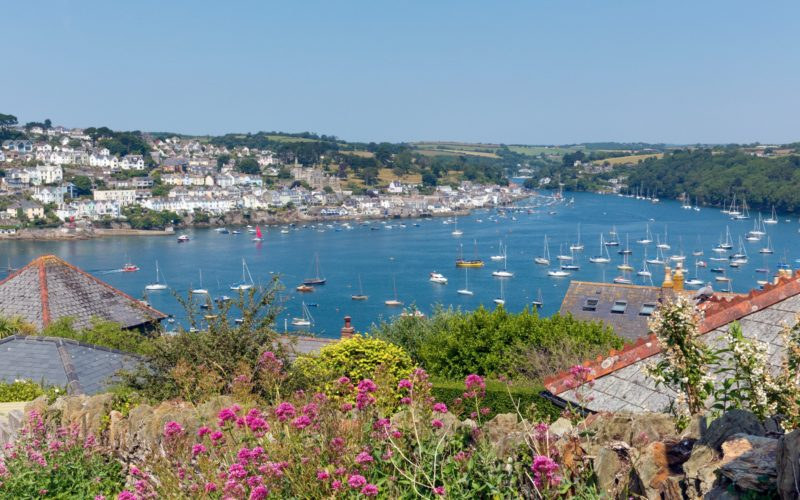 Boats on Fowey River Cornwall England UK