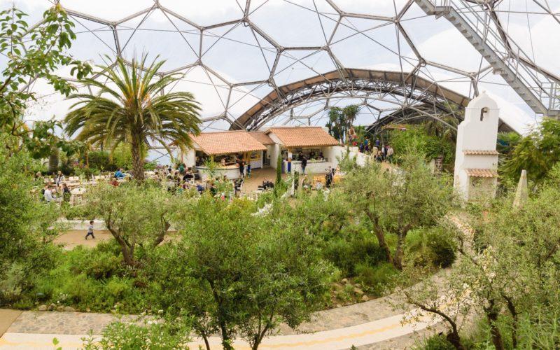 Bodelva Cornwall - April 13 2018: The Eden Project Mediterranean Biome A Popular Visitor Attraction