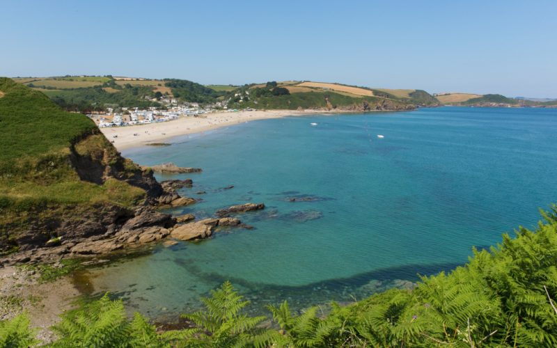 Pentewan beach and coast Cornwall between Mevagissey and Porthpean England UK